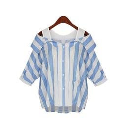 Autumn plus size women striped cold shoulder blouse full sleeve 2017 fashion turn down neck top.jpg 250x250