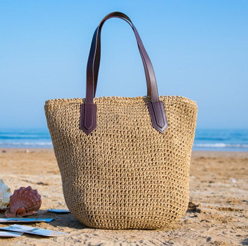 New Fashion Women Solid Straw Bag Summer Vacation Beach Bag Female Travel Handbag Shoulder Bag 2018 new fashion circular beach bag summer women shoulder bags round shape straw bag boho vintage retro beach handbag