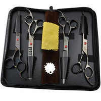 Pet grooming brand scissors set 7 inch professional Japan 440C dog scissors hair cutting slimming curve scissors with bag