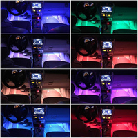 led music 4pcs Car RGB LED Strip Interior Light Multicolor Music Atmosphere Sound Active Function LED Light Strip LED Lighting with Remote (5)