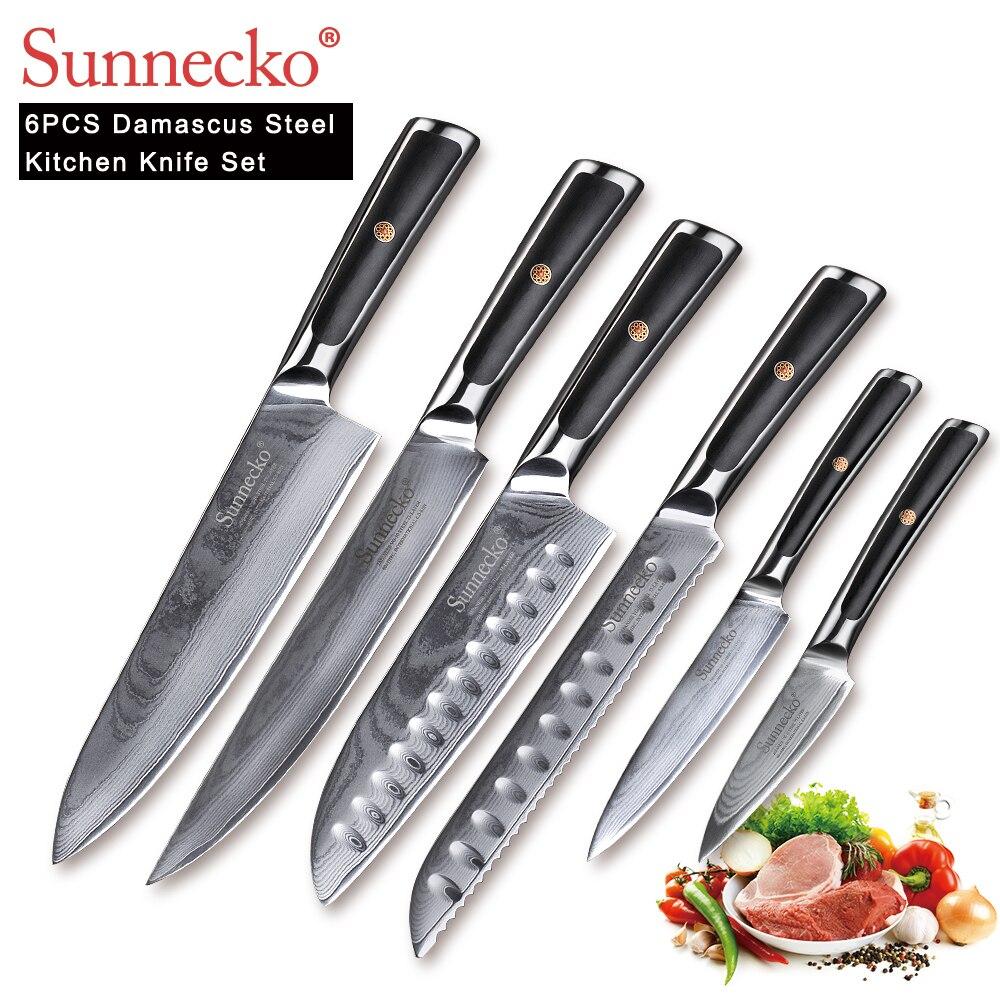 SUNNECKO 6 pz Set di Coltelli Da Cucina Chef Affettatrice Utility Santoku Coltello Utensili Da Taglio Giapponese di Damasco VG10 In Acciaio Sharp G10 Maniglia