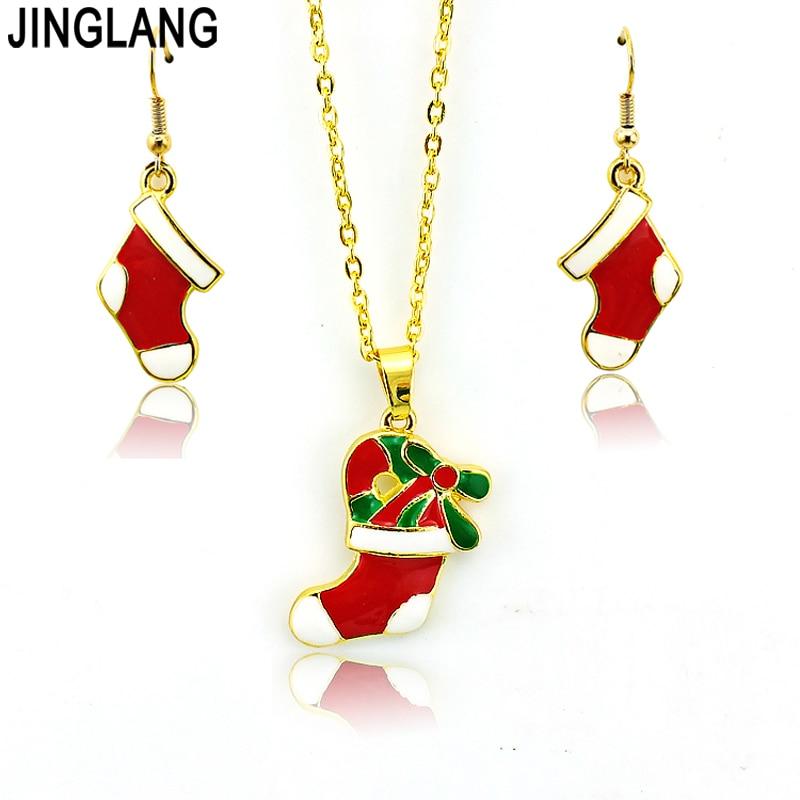 0315b34e36ae1 مجموعات مجوهرات الأزياء الأحمر المينا عيد الميلاد جوارب لون الذهب الأقراط قلادة  المجوهرات shippings