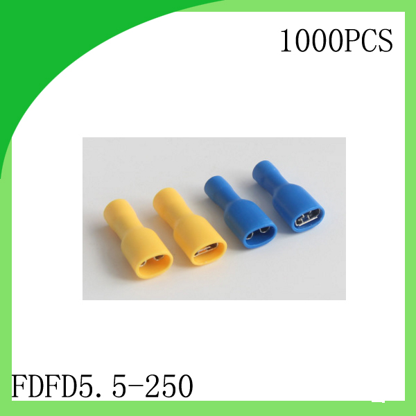 manfacture Brass 1000 PCS FDFD5.5 250 cold pressure terminal Fully insulated female connector Electrical Crimp Terminal