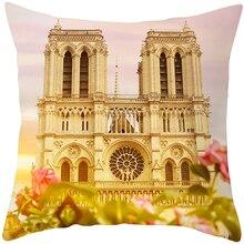 Paris' famous buildings printed cushion cover home textile pillowcases 45*45cm square shape decorative cushion case недорого