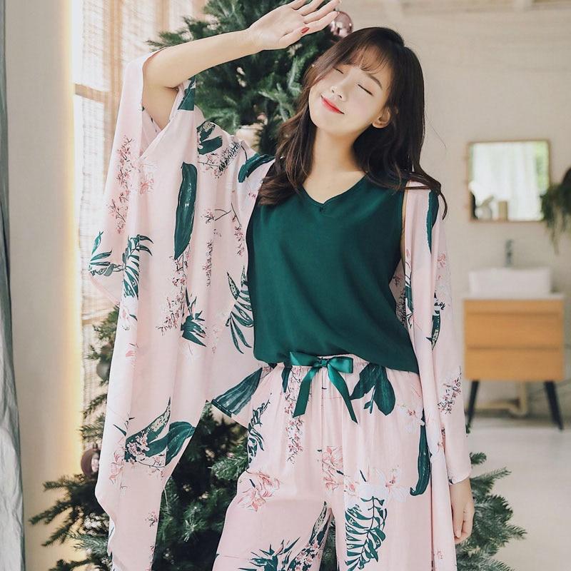 New Arrival Daily Spring Autumn Women's   Pajama     Set   4 Piece Home Style Sleep   Set   Sweet Loose Leaves Sleepwear Female