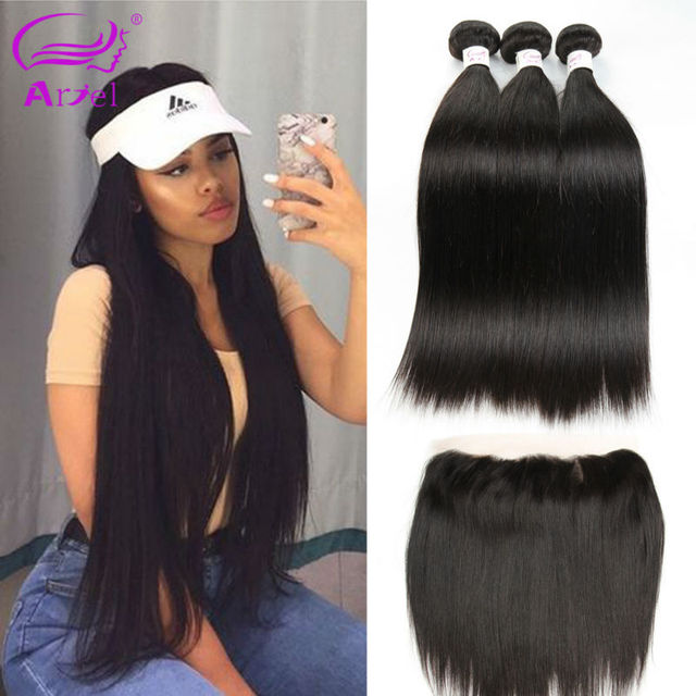 Hot Indian Bundles With Frontal Straight Beauty Hair Pre Plucked Frontal With Bundles