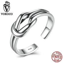 Unique Knot Genunie 925 Sterling Silver Adjustable Ring Resizable Party Accessories For Women Fine Jewelry VOROCO