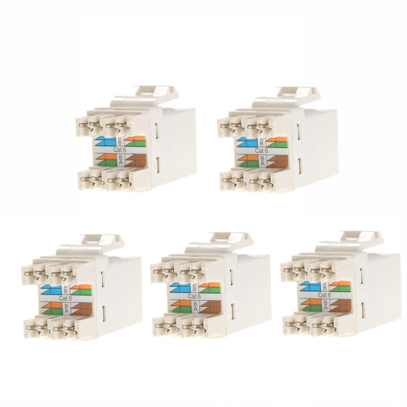 5PCS RJ45 CAT6 Module Network Cable Plugs Punch Down Ethernet Jack CAT5 CAT5e CAT6 Network Tool DIY Part Electrical Plug Adaptor  1pcs lot pci e 8pin male to 8 6 2 pin male graphics card power cable 18awg 60cm