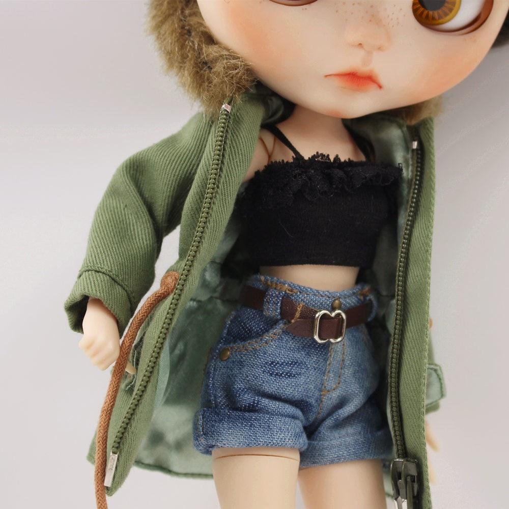 Neo Blythe Doll Denim Shorts Black Lace Bra With Green Army Jacket 7