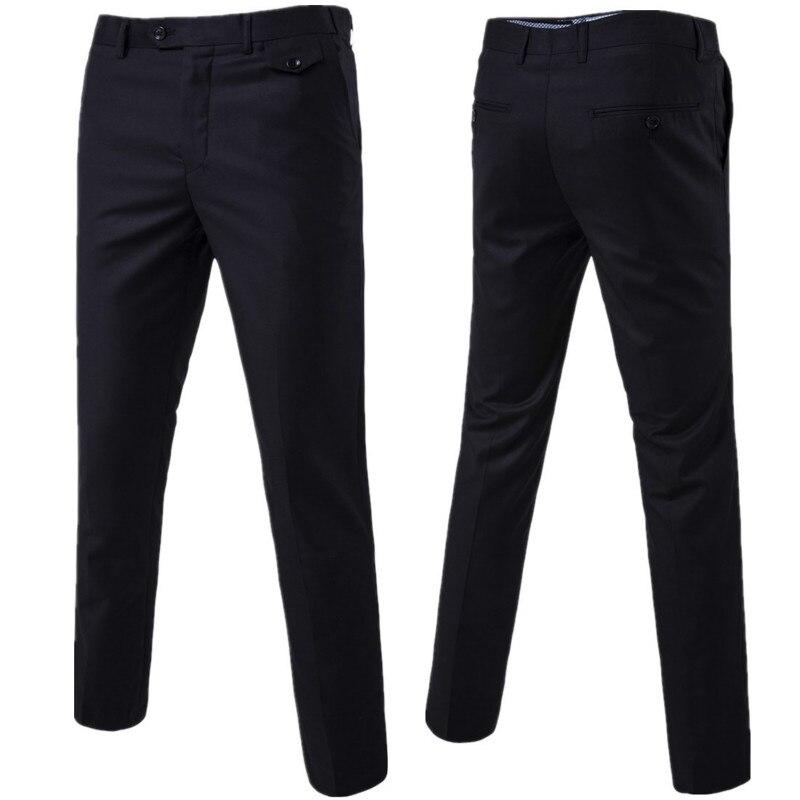 2019 Men Fashion Boutique Cotton Solid Official Business Suit Pants / Men Groom Wedding Dress Suit Pants Mens Trousers Leisure