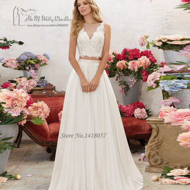 75d94a83f6 W stylu Vintage 2 sztuka suknia ślubna koronki suknie ślubne Boho lato w  stylu rustykalnym czeski