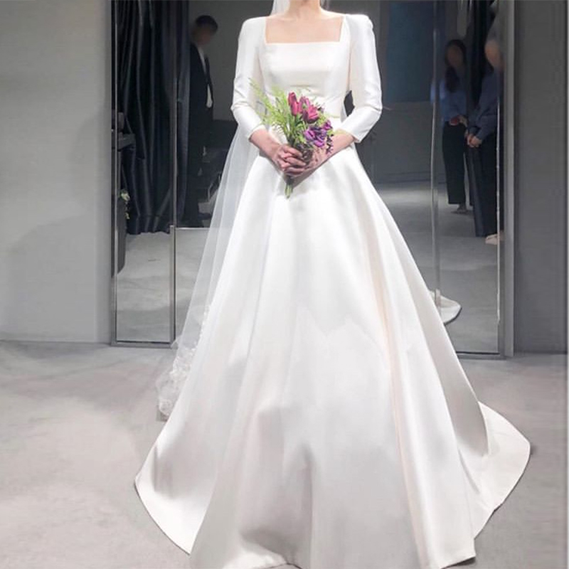 Simple Wedding Dresses With Three Quarter Length Sleeves Square Collar 2019 Wedding Gowns White Ivory Fantasy Korea Bridal Dress