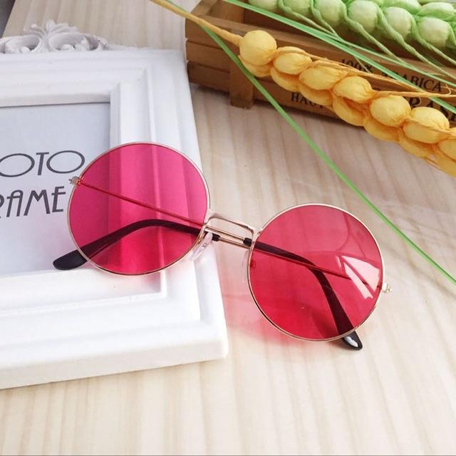 Homens e Mulheres Modelos de Óculos Retro Rodada Quadro Colorido Óculos de Espelho Plano óculos de Sol Ao Ar Livre Feminino Masculino Clássico Do Vintage Vermelho