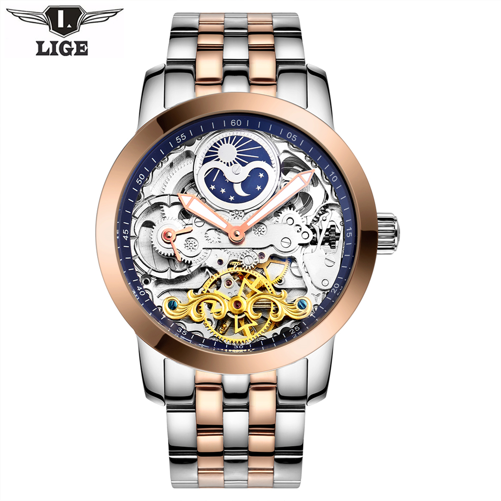 LIGE Mens Watches Top Brand Luxury Automatic Mechanical Tourbillon Watch Men Luminous Stainless Steel Wristwatch Montre Homme guanqin gj16031 top brand luxury automatic mechanical tourbillon watch men luminous stainless steel wristwatch montre homme