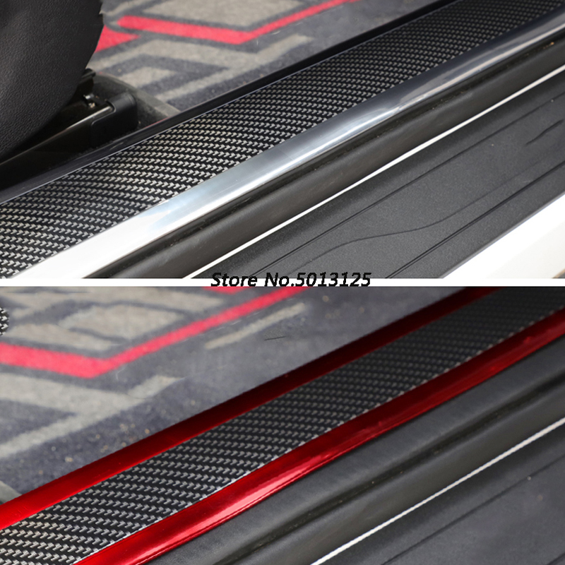 Car Door Sill Anti-Stepping Refitting Pedal Decorative Strip Car Door Side Bumper Sticker For Volkswagen VW Tiguan MK2 2018 2019 image