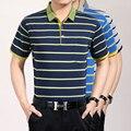 Высокое качество лето новая классика полосатый мужчин с коротким рукавом хлопка рубашки поло