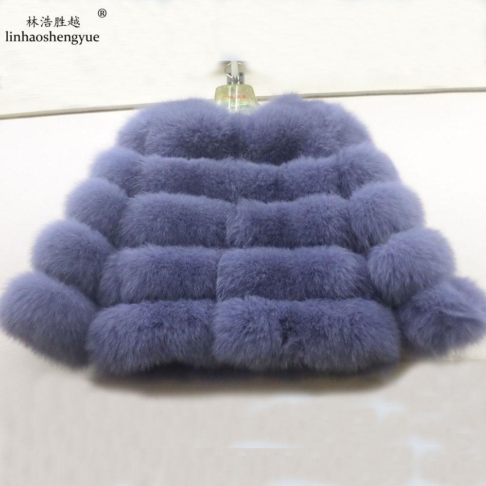 Linhaoshengyue Krátký odstavec přírodní liščí kožich dámský Skutečný liščí kožich krátký kabát