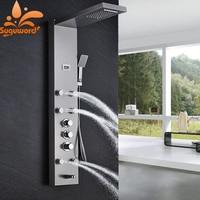 Brushed Nickel Shower Faucet Mixer Faucet Three Handle Control Black Massage SPA Bathroom Shower Set Panel