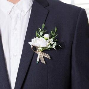 Image 5 - JaneVini 2019 新しい人工花花嫁花婿ブートニエールコサージュ白手首の花セット結婚式のコサージュと Boutonnieres