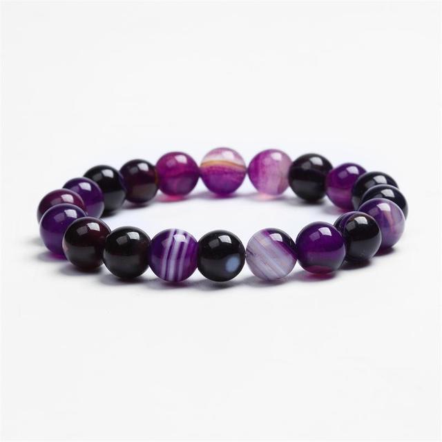 Natural Stone Love Purple Bead Bracelet