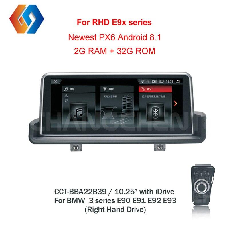 RHD E90 Android 8.1 Px6 pour Conduite À Droite E90 E91 E92 E93 Voiture Multimédia navigation gps BT WiFi écran tactile Livraison iDrive39