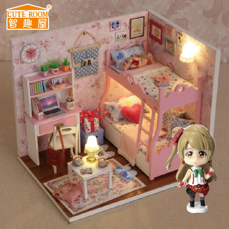 Kids Bedroom Furniture Kids Wooden Toys Online: H012 New Arrive Diy Doll House Miniatura Bedroom 3D Wooden
