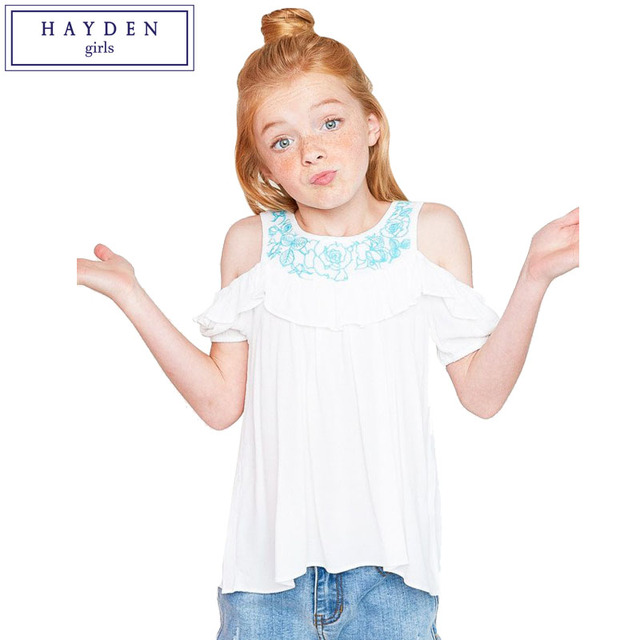 b57ec2943a0 HAYDEN Girls Cold Shoulder Top Teen Girl Kids Ruffle Cut Out Shoulder  Blouse Teenagers Embroidered Shirt White Age 7 to 14 Years