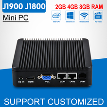 Fanless Mini PC Intel Windows 10 Celeron J1900 2 LAN Quad Core Multi Mini Computer Desktop Celeron J1800 For Industrial Computer