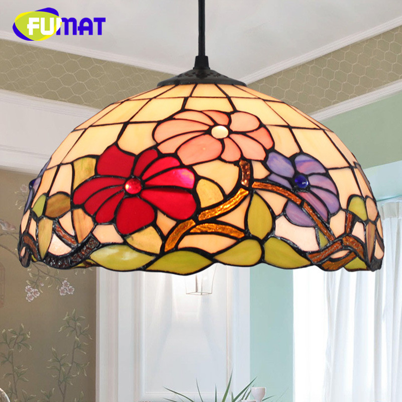 FUMAT European Porch Balcony Creative Retro Tiffany Stained Glass Living Room Bedroom Bedside Hotel restaurant Chandelier