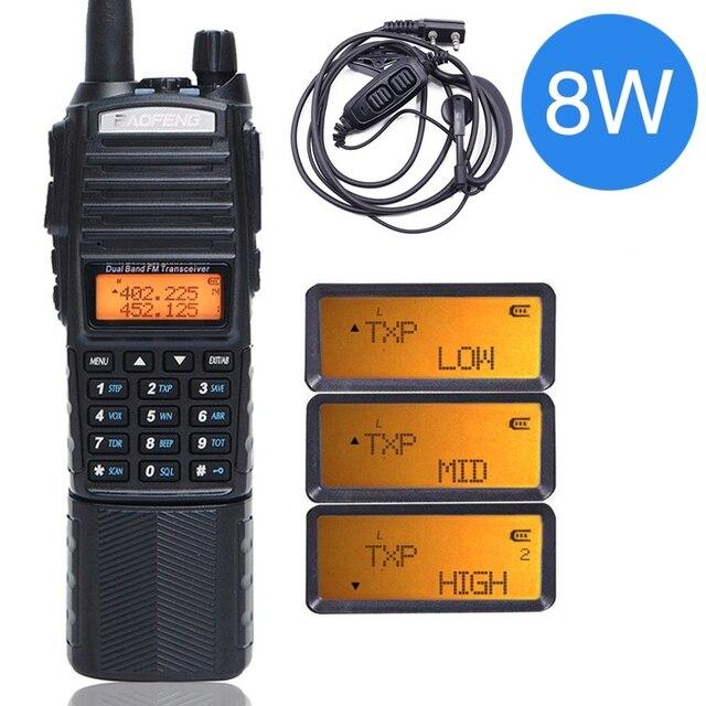 Baofeng UV 82 Plus talkie walkie 8W puissant 3800mAh batterie cc étendue UV82 double émetteur récepteur Radio bande PTT jambon Amateur UV 82