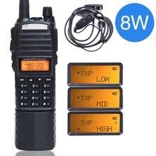 Baofeng UV 82 plus walkie talkie 8 w poderoso 3800 mah prolongado dc bateria uv82 dupla faixa ptt rádio transceptor amador presunto uv 82