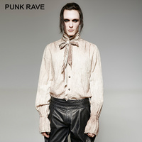 PUNK RAVE Steampunk Vintage Painting Breathable Linen Tie Men Shirt Retro Do Old Stand Up Collar
