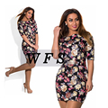 Elegant NEW 2017 summer style floral print women dresses big size plus size women clothing L- 6xl dress casual o-neck mini Dress