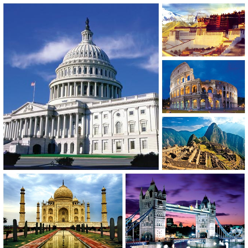 1000 piece The world Famous building Landscape paper puzzles for adult DIY attractions jigsaw puzzle toys
