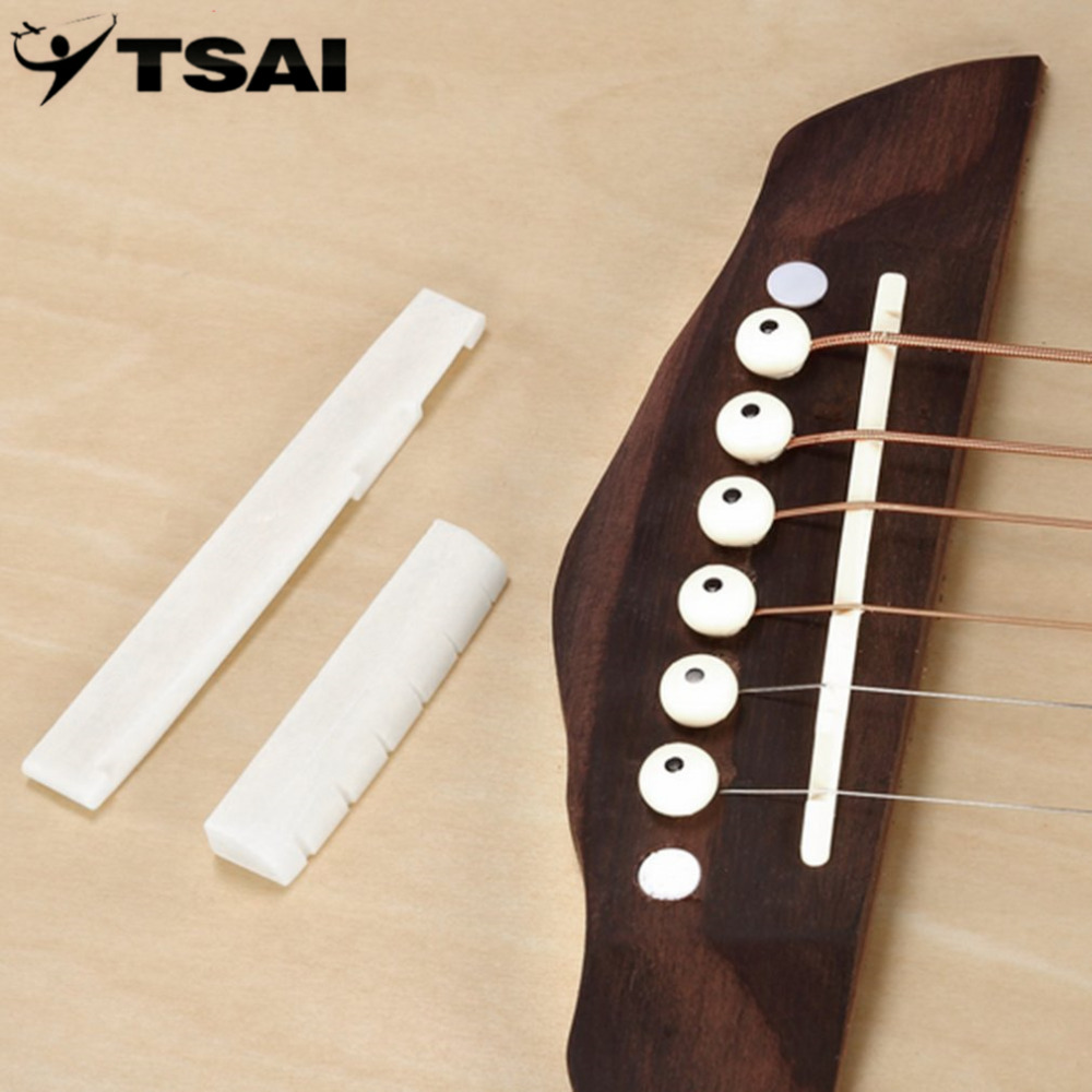 TSAI 6 String Classical Guitar PartProfessional Buffalo Bone Bridge Bone Slotted Nut Uncarved Saddle Set Guitar Replacement
