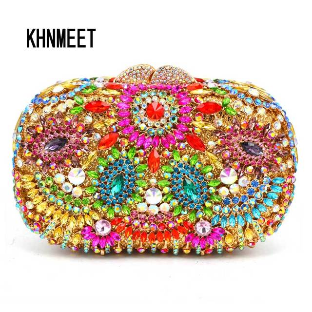 adddb7bf8fb4 Red Hollow Out flower Indian clutch bag turquoise luxury crystal evening  diamante wedding party purse women