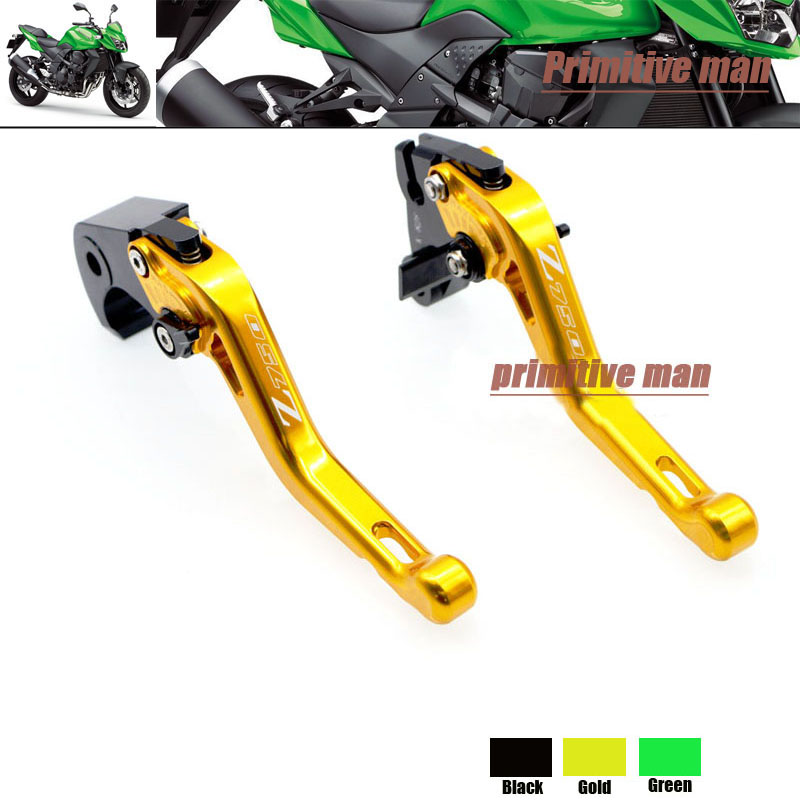 ФОТО For KAWASAKI Z750R 2011-2012 Motorcycle Accessories Short Brake Clutch Levers LOGO Z750 Gold