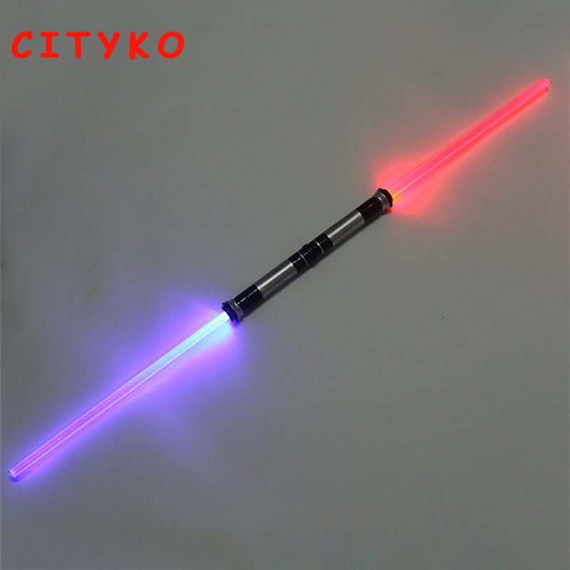 2 Pcs Sound Lightsaber Cosplay Star Wars laser sword Props Kids Double Light Saber Toy Sword for Boys Christmas Gifts 2pcs cosplay star wars lightsaber sound telescopic led flashing light sword toys weapons sabers pvc action figure toy gifts boys