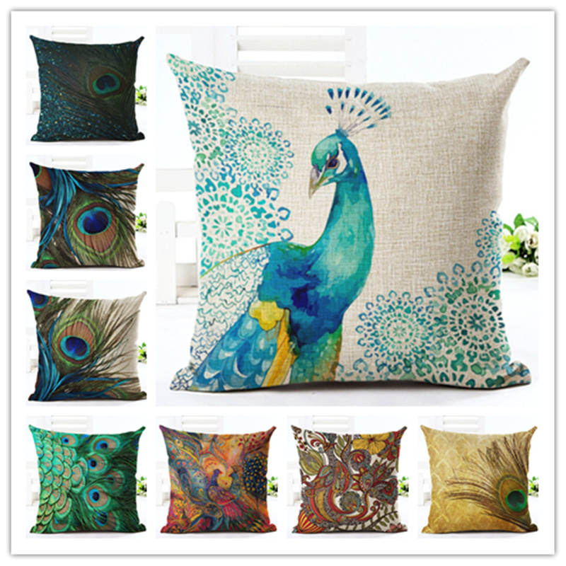 Fashion style high quality home decor cushion cover for Home decorations peacock