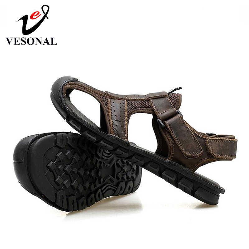 VESONAL 2019 новые летние классические зимние сапоги из натуральной кожи для прогулок, мужская обувь, сандали для Мужская водонепроницаемая обувь для прогулок пляжные сандалии; сандалии без задника с открытыми пальцами