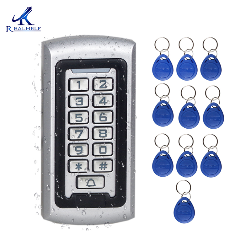 Crystal Button 3-10cm Card Reader 125khz Door Entry System Kits for Metal Standalone Access Control Keypad Code Access Reader