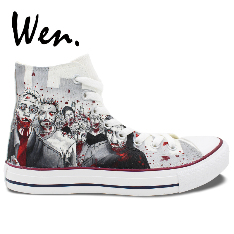 US $66.4 20% OFF|Wen Customized Grey Background The Walking Dead Hand Painted Skate Shoes Design Unisex Canvas Sneakers High Top Unique Presents in