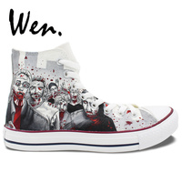 Wen Customized Grey Background The Walking Dead Hand Painted Skate Shoes Design Unisex Canvas Sneakers High Top Unique Presents