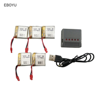 EBOYU 5pcs* 3.7V 380mAh 25C Lipo battery with 5 port Balance Charger for Syma X21 X21W RC Quadcopter Drone