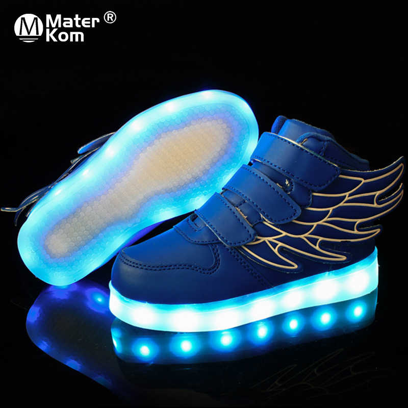ขนาด 25-37 เด็กเรืองแสงรองเท้าผ้าใบเด็กรองเท้าผ้าใบส่องสว่างสำหรับชายหญิง Led รองเท้าผ้าใบ Luminous Sole รองเท้าไฟ