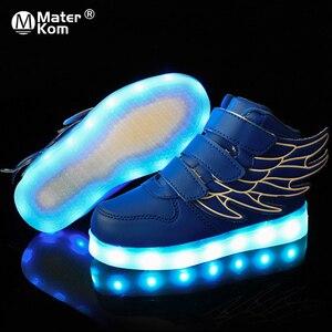 Image 1 - Baskets scintillantes pour enfants, chaussures de sport lumineuse avec semelle lumineuse, tailles 25 37, baskets à Led
