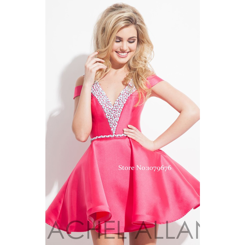 Fashionable Sweet Hot Pink Homecoming Dresses Off Shoulder Backless ...