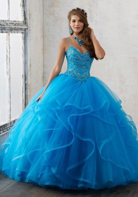 Hot Azul Coral Vestido 2017 Spaghetti Frisada Tulle Doce 16 Vestidos Quinceanera Masquerade Ball Gown Vestido Para 15 Anos QR82