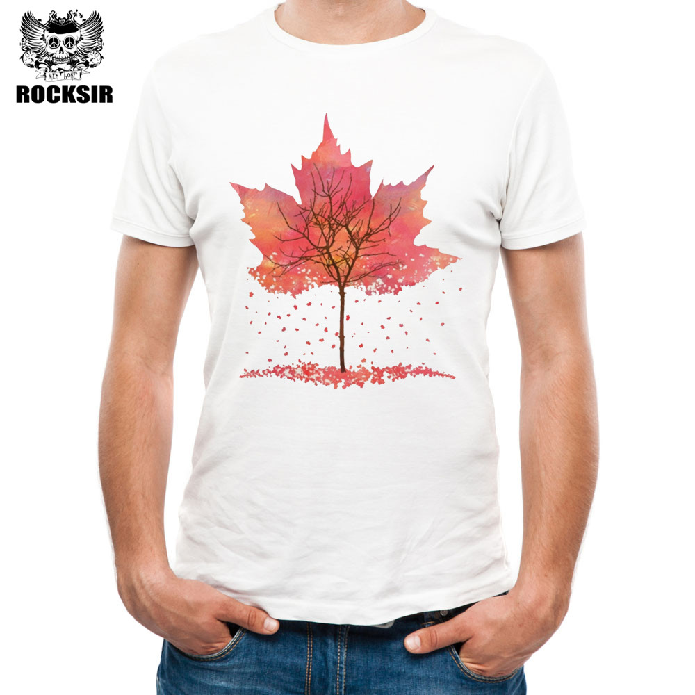Hot Sale Rocksir Brand Clothing T Shirt Men Canada Flag Canadian