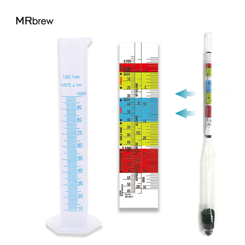 Triple Scale Hydrometer & Test Graduated Cylinder Combo Brewing Kit Homebrew Øl Vin Making